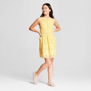 Xhilaration Gold Lace Trim Fit & Flare Dress Med